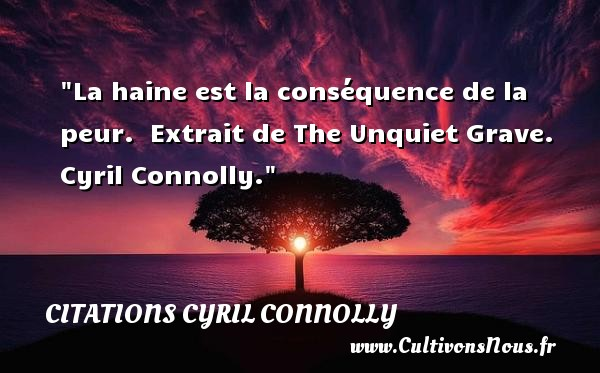 La haine est la conséquence de la peur.   Extrait de The Unquiet Grave. Cyril Connolly. Une citation sur la peur CITATIONS CYRIL CONNOLLY - Citation peur