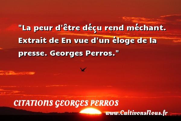 La Peur D Etre Decu Rend Mechant Citations Georges Perros