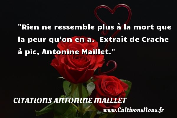 Rien ne ressemble plus à la mort que la peur qu on en a.   Extrait de Crache à pic, Antonine Maillet. Une citation sur la peur CITATIONS ANTONINE MAILLET - Citations Antonine Maillet