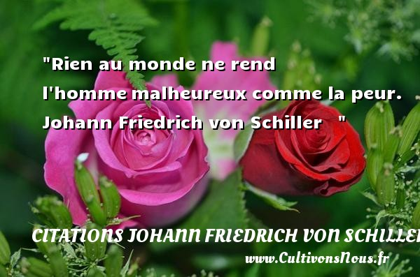 Citations Johann Friedrich von Schiller - Rien au monde ne rend l hommemalheureux comme la peur.   Johann Friedrich von Schiller      Une citation sur la peur CITATIONS JOHANN FRIEDRICH VON SCHILLER