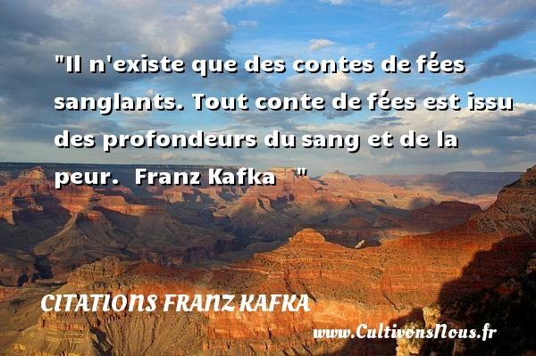 Il n existe que des contes defées sanglants. Tout conte defées est issu des profondeurs dusang et de la peur.   Franz Kafka      Une citation sur la peur CITATIONS FRANZ KAFKA