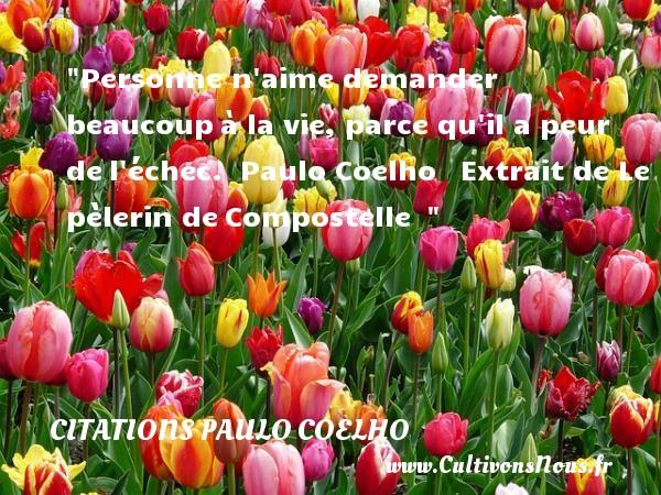 Personne n aime demander beaucoupà la vie, parce qu il a peur del échec.   Paulo Coelho  Extrait de Le pèlerin deCompostelle     Une citation sur la peur CITATIONS PAULO COELHO