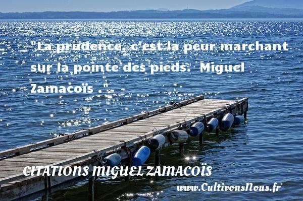 La prudence, c est la peur marchant sur la pointe des pieds.   Miguel Zamacoïs . Une citation sur la peur CITATIONS MIGUEL ZAMACOÏS - Citations Miguel Zamacoïs - Citation peur
