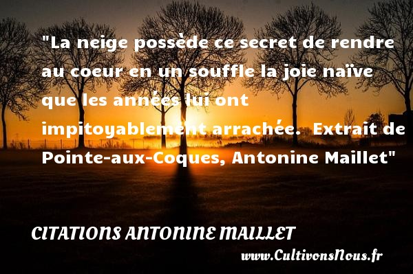 La neige possède ce secret de rendre au coeur en un souffle la joie naïve que les années lui ont impitoyablement arrachée.   Extrait de Pointe-aux-Coques, Antonine Maillet   Une citation sur Noël CITATIONS ANTONINE MAILLET - Citations Antonine Maillet - Citation Noël - Citations joie