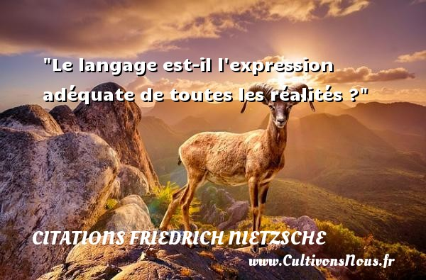 Le langage est-il l expression adéquate de toutes les réalités ?  Une citation extraite de   Le livre du philosophe , Friedrich Nietzsche   Une citation sur la philosophie CITATIONS FRIEDRICH NIETZSCHE - Citation philosophie