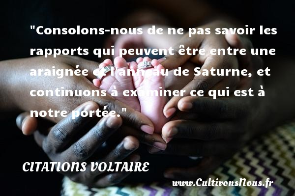 Citations Voltaire - Citation philosophie - Consolons-nous de ne pas savoir les rapports qui peuvent être entre une araignée et l anneau de Saturne, et continuons à examiner ce qui est à notre portée.  Une citation extraite de  Lettres philosophiques , Voltaire   Une citation sur la philosophie CITATIONS VOLTAIRE