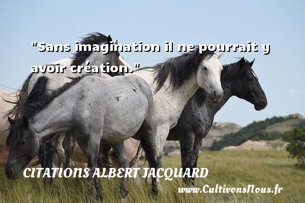 Sans imagination il ne pourrait y avoir création.  Une citation extraite de   Petite Philosophie à l usage des non-philosophes , Albert Jacquard   Une citation sur la philosophie CITATIONS ALBERT JACQUARD - Citation philosophie