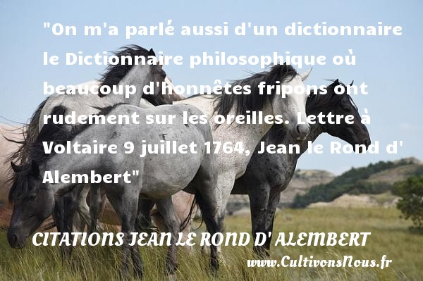 Citations Jean le Rond d' Alembert - Citation philosophie - On m a parlé aussi d un dictionnaire le Dictionnaire philosophique où beaucoup d honnêtes fripons ont rudement sur les oreilles.  Lettre à Voltaire 9 juillet 1764, Jean le Rond d  Alembert   Une citation sur la philosophie CITATIONS JEAN LE ROND D' ALEMBERT