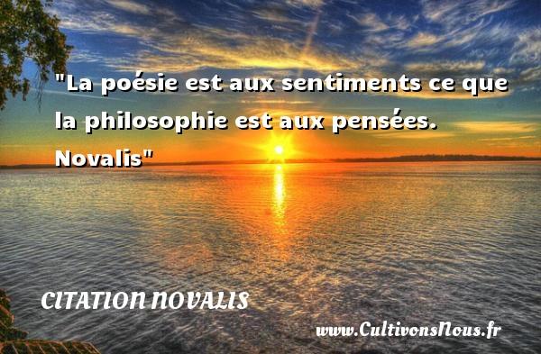 Citation Novalis - Citation philosophie - La poésie est aux sentiments ce que la philosophie est aux pensées.   Novalis   Une citation sur la philosophie CITATION NOVALIS