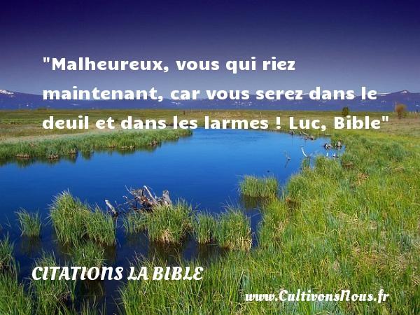 Malheureux, vous qui riez maintenant, car vous serez dans le deuil et dans les larmes !  Luc, Bible   Une citation sur le mot heureux CITATIONS LA BIBLE - Citations heureux
