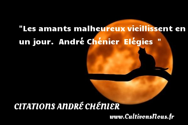 Les amants malheureux vieillissent en un jour.   André Chénier  Elégies      Une citation sur le mot heureux CITATIONS ANDRÉ CHÉNIER - Citations André Chénier - Citations heureux