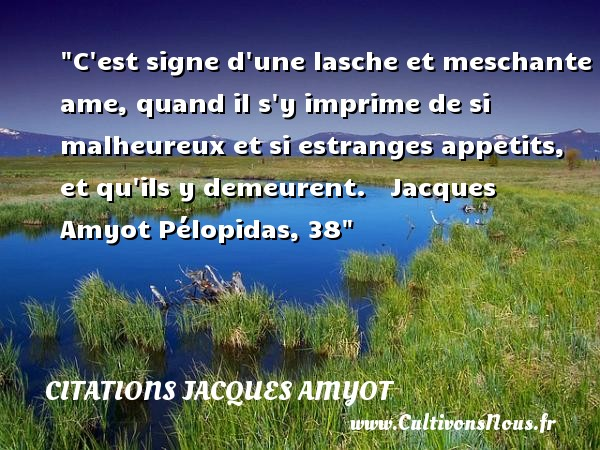 Citations Jacques Amyot - Citations heureux - C est signe d une lasche et meschante ame, quand il s y imprime de si malheureux et si estranges appetits, et qu ils y demeurent.     Jacques Amyot Pélopidas, 38   Une citation sur le mot heureux CITATIONS JACQUES AMYOT