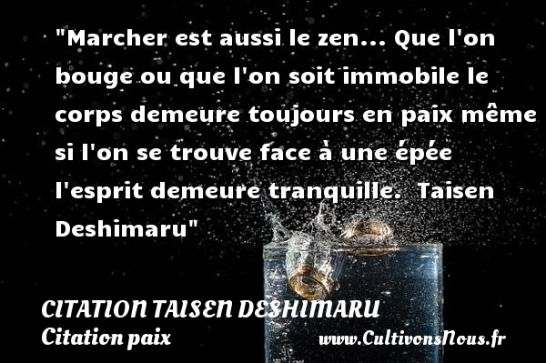 Citation Taisen Deshimaru - Citation paix - Marcher est aussi le zen... Que l on bouge ou que l on soit immobile le corps demeure toujours en paix même si l on se trouve face à une épée l esprit demeure tranquille.   Taisen Deshimaru   Une citation sur la Paix CITATION TAISEN DESHIMARU