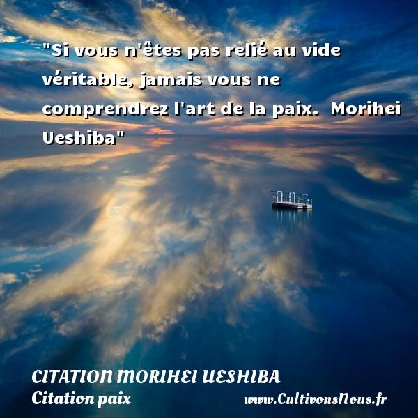 Si vous n êtes pas relié au vide véritable, jamais vous ne comprendrez l art de la paix.   Morihei Ueshiba   Une citation sur la Paix CITATION MORIHEI UESHIBA - Citation paix