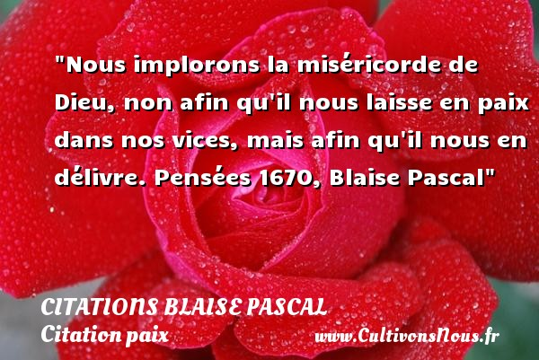 Citations Blaise Pascal - Citation paix - Nous implorons la miséricorde de Dieu, non afin qu il nous laisse en paix dans nos vices, mais afin qu il nous en délivre.  Pensées 1670, Blaise Pascal   Une citation sur la Paix CITATIONS BLAISE PASCAL