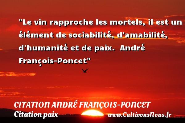 Le vin rapproche les mortels, il est un élément de sociabilité, d amabilité, d humanité et de paix.   André François-Poncet   Une citation sur la Paix CITATION ANDRÉ FRANÇOIS-PONCET - Citation André François-Poncet - Citation humanité - Citation paix