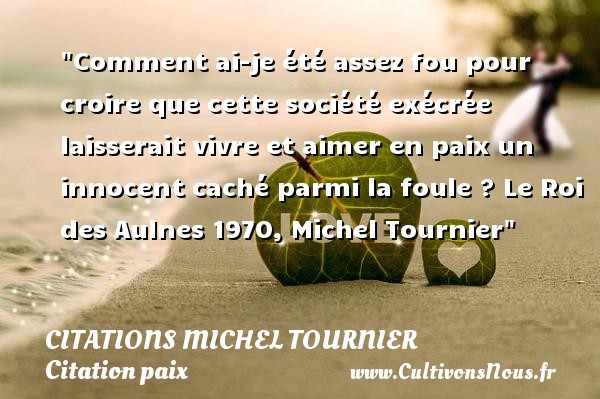 Comment ai-je été assez fou pour croire que cette société exécrée laisserait vivre et aimer en paix un innocent caché parmi la foule ?  Le Roi des Aulnes 1970, Michel Tournier   Une citation sur la Paix CITATIONS MICHEL TOURNIER - Citation paix