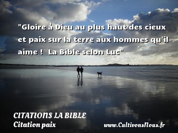 Citations la Bible - Citation paix - Gloire à Dieu au plus haut des cieux et paix sur la terre aux hommes qu il aime !   La Bible selon Luc   Une citation sur la Paix CITATIONS LA BIBLE