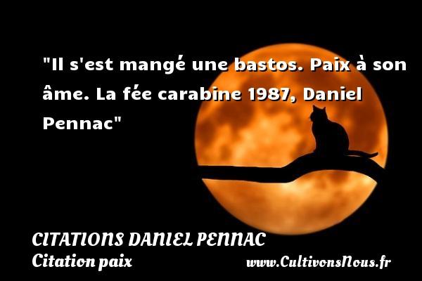 Citations Daniel Pennac - Citation paix - Il s est mangé une bastos. Paix à son âme.  La fée carabine 1987, Daniel Pennac   Une citation sur la Paix CITATIONS DANIEL PENNAC