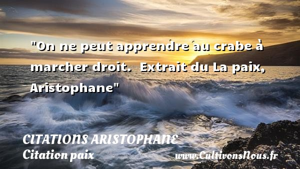 Citations Aristophane - Citation paix - On ne peut apprendre au crabe à marcher droit.   Extrait du La paix, Aristophane   Une citation sur la Paix CITATIONS ARISTOPHANE
