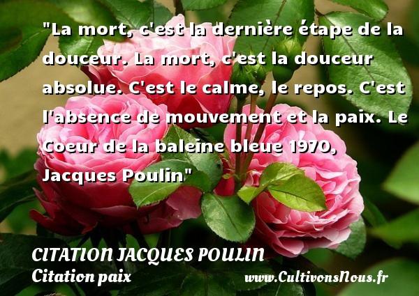 La mort, c est la dernière étape de la douceur. La mort, c est la douceur absolue. C est le calme, le repos. C est l absence de mouvement et la paix.  Le Coeur de la baleine bleue 1970, Jacques Poulin   Une citation sur la Paix CITATION JACQUES POULIN - Citation bleu - Citation calme - Citation paix