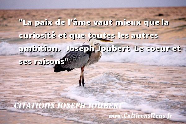 La paix de l âme vaut mieux quela curiosité et que toutes lesautres ambition.   Joseph Joubert Le coeur et ses raisons   Une citation sur la Paix CITATIONS JOSEPH JOUBERT - Citation paix
