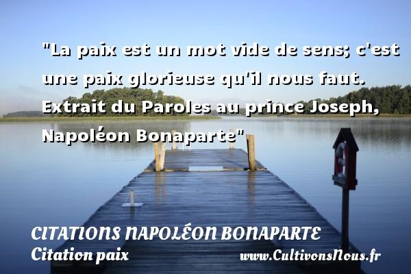 La paix est un mot vide de sens; c est une paix glorieuse qu il nous faut.   Extrait du Paroles au prince Joseph, Napoléon Bonaparte   Une citation sur la Paix CITATIONS NAPOLÉON BONAPARTE - Citations Napoléon Bonaparte - Citation paix