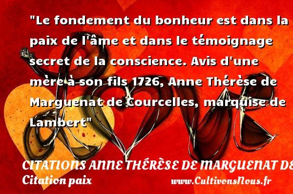Citation anne th r se de marguenat de courcelles marquise - Le bonheur est dans la poele ...