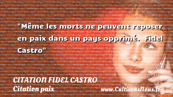 Même les morts ne peuvent reposer en paix dans un pays opprimé.   Fidel Castro   Une citation sur la Paix CITATION FIDEL CASTRO - Citation paix