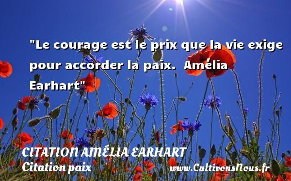 Le courage est le prix que la vie exige pour accorder la paix.   Amélia Earhart   Une citation sur la Paix CITATION AMÉLIA EARHART - Citation Amélia Earhart - Citation paix