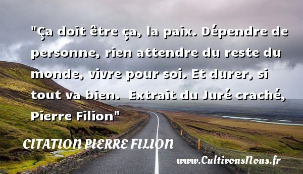 ça Doit être ça La Paix Citation Pierre Filion