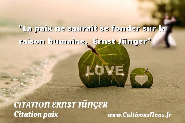 La paix ne saurait se fonder sur la raison humaine.   Ernst Jünger   Une citation sur la Paix CITATION ERNST JÜNGER - Citation Ernst Jünger - Citation paix