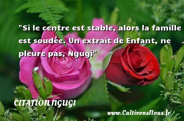 Citation Ngugi - Citation famille - Si le centre est stable, alors la famille est soudée.  Un extrait de Enfant, ne pleure pas, Ngugi   Une citation famille CITATION NGUGI