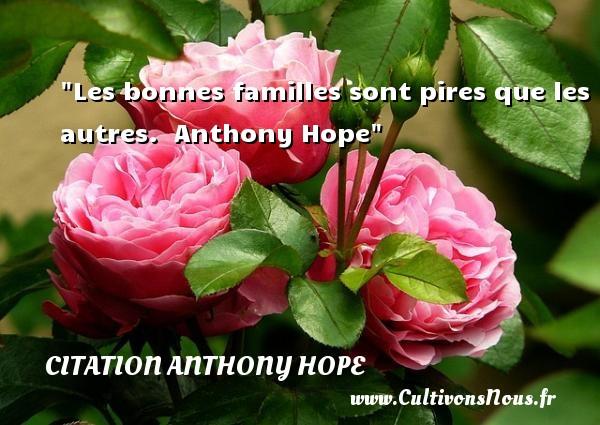 Les bonnes familles sont pires que les autres.   Anthony Hope   Une citation famille CITATION ANTHONY HOPE