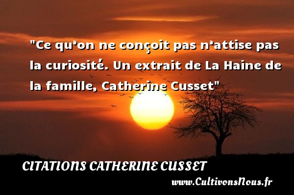 Citations Catherine Cusset - Citation famille - Ce qu'on ne conçoit pas n'attise pas la curiosité.  Un extrait de La Haine de la famille, Catherine Cusset   Une citation famille CITATIONS CATHERINE CUSSET