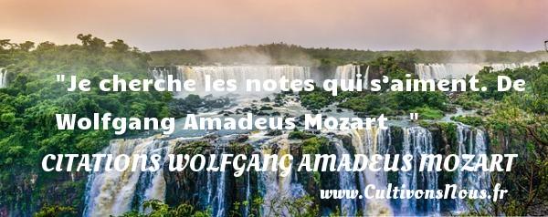 Je cherche les notes qui s'aiment.  De Wolfgang Amadeus Mozart    CITATIONS WOLFGANG AMADEUS MOZART