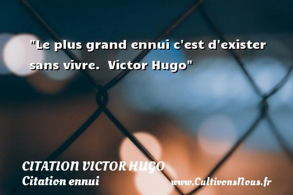 Le plus grand ennui c est d exister sans vivre.   Victor Hugo   Une citation sur l ennui CITATION VICTOR HUGO - Citation ennui