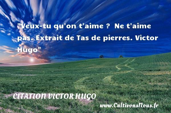 Veux-tu qu on t aime ? Ne t aime pas. Extrait de Tas de pierres. Victor Hugo CITATION VICTOR HUGO
