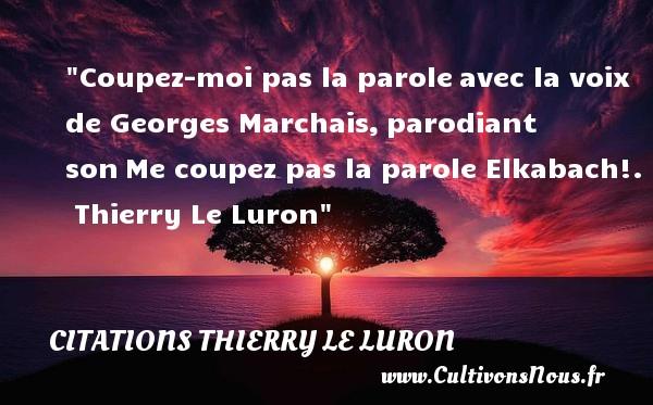 Citations Thierry Le Luron - Coupez-moi pas la paroleavec la voix de Georges Marchais,parodiant sonMe coupez pas la parole Elkabach!.   Thierry Le Luron CITATIONS THIERRY LE LURON