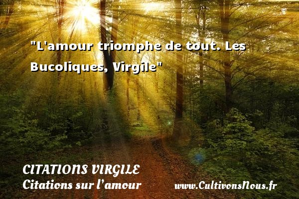 Citations Virgile - Citations sur l'amour - L amour triomphe de tout.  Les Bucoliques, Virgile   Une citation sur l amour CITATIONS VIRGILE