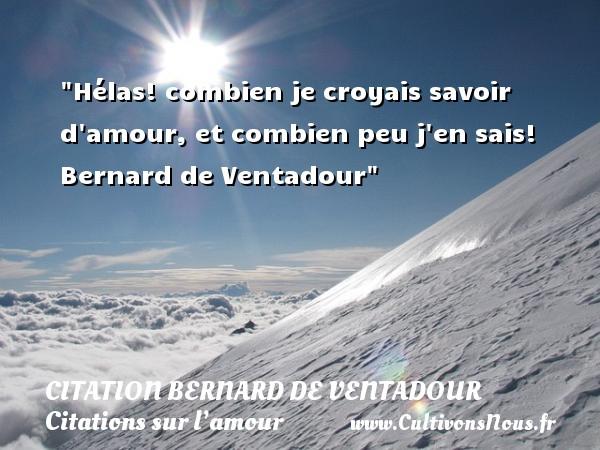 Citation Bernard de Ventadour - Citations sur l'amour - Hélas! combien je croyais savoir d amour, et combien peu j en sais!   Bernard de Ventadour   Une citation sur l amour CITATION BERNARD DE VENTADOUR