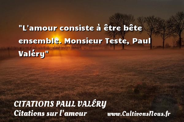 Citations Paul Valéry - Citations sur l'amour - L amour consiste à être bête ensemble.  Monsieur Teste, Paul Valéry   Une citation sur l amour CITATIONS PAUL VALÉRY