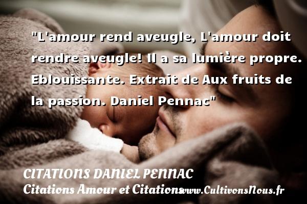 Citations Daniel Pennac - Citation fruit - Citations Amour et Citations - L amour rend aveugle, L amour doit rendre aveugle! Il a sa lumière propre. Eblouissante.  Extrait de Aux fruits de la passion. Daniel Pennac CITATIONS DANIEL PENNAC