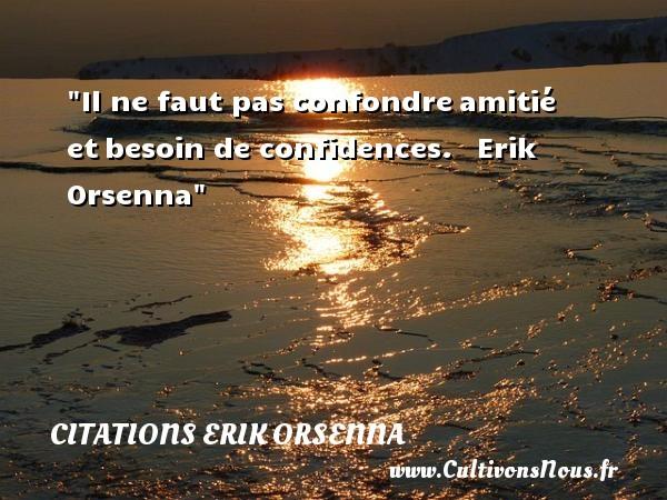 Il ne faut pas confondreamitié etbesoin de confidences.   Erik Orsenna   Une citation sur l amitié CITATIONS ERIK ORSENNA