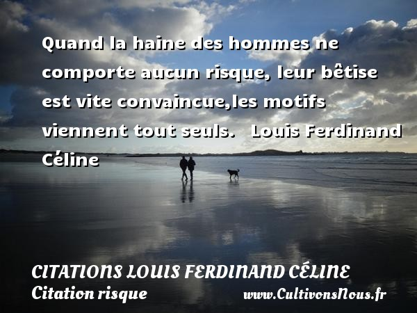 Quand la haine des hommes ne comporte aucun risque, leur bêtise est vite convaincue,les motifs viennent tout seuls.     Louis Ferdinand Céline CITATIONS LOUIS FERDINAND CÉLINE - Citations Louis Ferdinand Céline - Citation risque