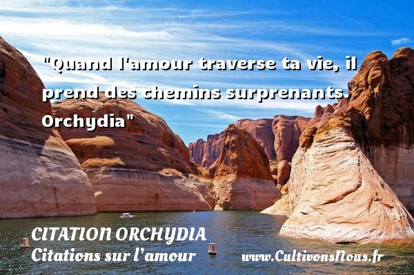 Citation Orchydia - Citations sur l'amour - Quand l amour traverse ta vie, il prend des chemins surprenants.   Orchydia   Une citation sur l amour CITATION ORCHYDIA