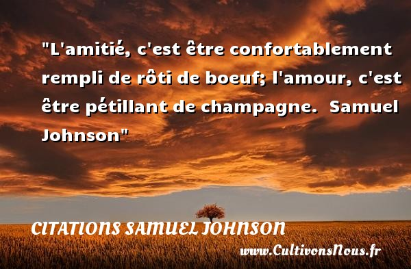 Citations Samuel Johnson - Citation Amitié - L amitié, c est être confortablement rempli de rôti de boeuf; l amour, c est être pétillant de champagne.   Samuel Johnson   Une citation sur l amitié CITATIONS SAMUEL JOHNSON