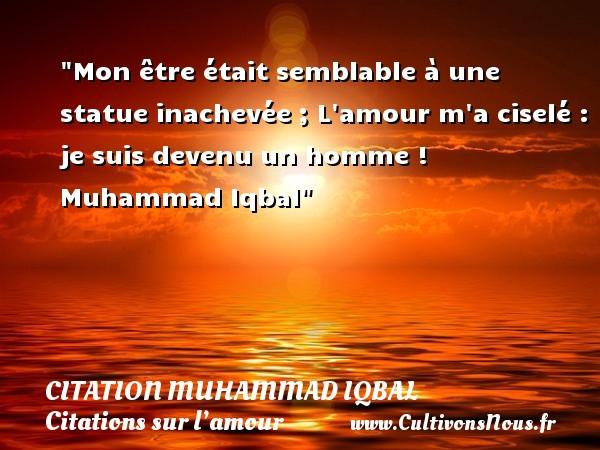 Mon être était semblable à une statue inachevée ; L amour m a ciselé : je suis devenu un homme !    Muhammad Iqbal   Une citation sur l amour CITATION MUHAMMAD IQBAL - Citations sur l'amour