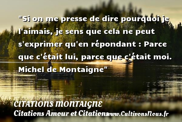 Citations Montaigne - Citations Amour et Citations - Si on me presse de dire pourquoi je l aimais, je sens que cela ne peut s exprimer qu en répondant : Parce que c était lui, parce que c était moi.   Michel de Montaigne CITATIONS MONTAIGNE