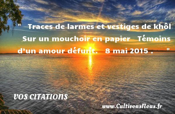 Traces de larmes et vestiges de khôl     Sur un mouchoir en papier     Témoins d'un amour défunt.     8 mai 2015  .         VOS CITATIONS